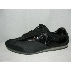 8 Black KODIE Canvas Patent Suede Fashion Sneakers